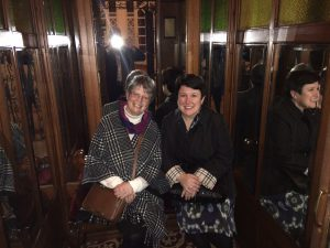 Lesley and Gail in the first lift ever used in Turkey and some say built by Oscar Schindler's company, others say it wasn't.